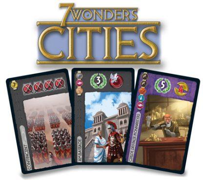 Afbeelding van enkele speelkaarten van 7 Wonders Cities