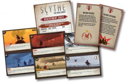 Afbeelding van enkele speelkaarten van Scythe The Wind Gambit