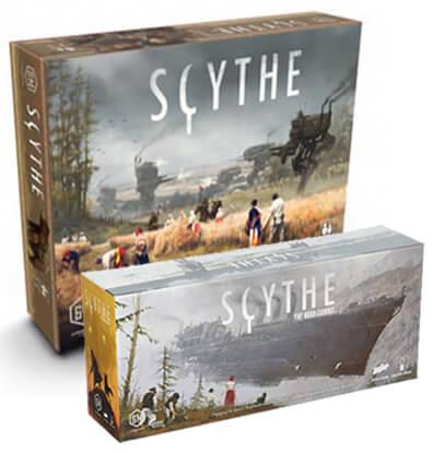 Afbeelding van de speeldozen van Scythe en de uitbreiding Scythe The Wind Gambit