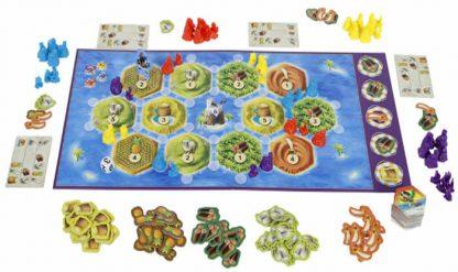 Speelbord en spelonderdelen van het bordspel de Kolonisten van Catan Junior Nederlands