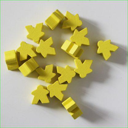 Verzameling van gele Carcassonne meeples