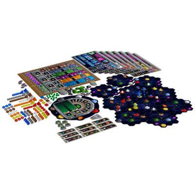 Speelbord en onderdelen van het bordspel Gaia Project (Engels)