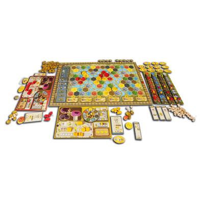 Speelbord en onderdelen van het bordspel Terra Mystica Engels
