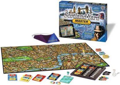 Speelbord en Spelonderdelen van het bordspel Scotland Yard Master