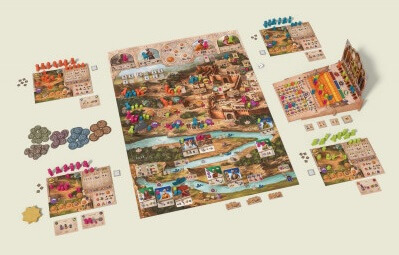 Afbeelding van spelonderdelen van het bordspel Agra