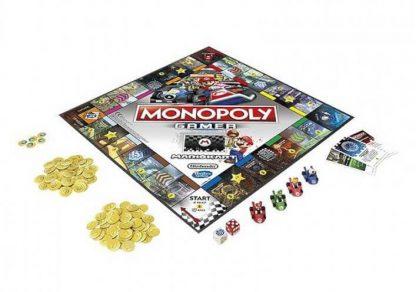 Speelbord en spelonderdelen van het bordspel Monopoly Gamer Mario Kart