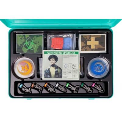 Foto van de spelonderdelen van het bordspel Pandemic 10-jarige Jubileumeditie