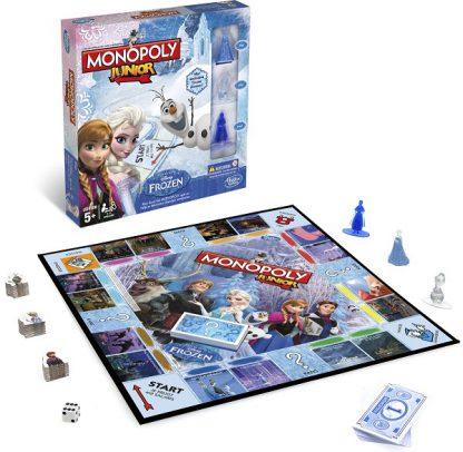 Speelbord en spelonderdelen van het bordspel Monopoly Junior Disney Frozen